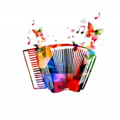 Poster Bunte Akkordeon. Musik-Instrument-Hintergrund mit Schmetterlingen