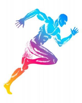 Poster Bunte Figur eines Mannes Lauf
