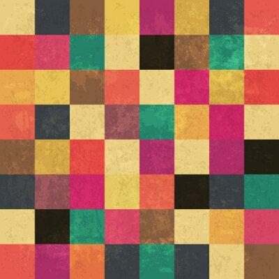 Poster Bunte gealterte Quadrate. Nahtlose Muster. Grunge Schichten können ea