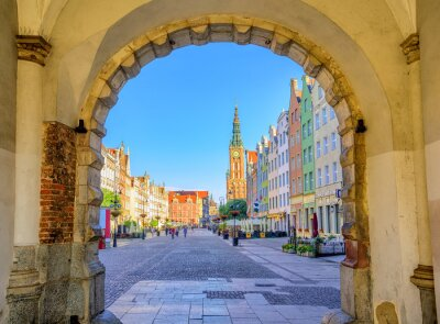 Poster Bunte gotische Fassaden in der Altstadt von Danzig, Polen