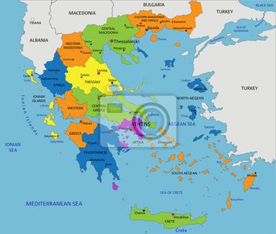 Thessaloniki Karte.Poster Bunte Griechenland Politische Karte Mit Deutlich Beschriftet
