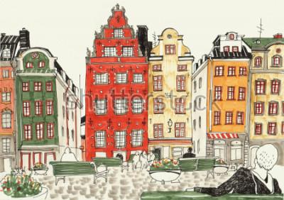 Poster Bunte Hand gezeichnete Illustration von Stockholm-Häusern, Straßenskizze der europäischen Stadt. Tinte und Marker.