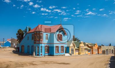 Poster Bunte Häuser in Luderitz, deutsche Stilstadt in Namibia