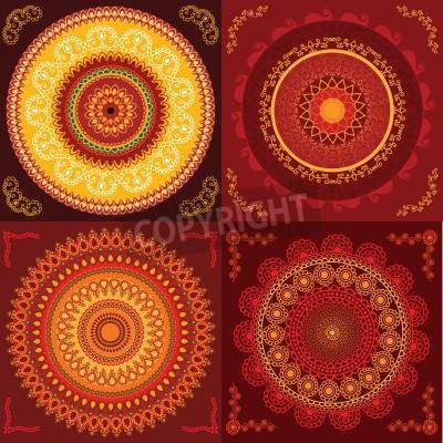 Poster Bunte Henna Mandala Design, sehr aufwändige und leicht editierbaren