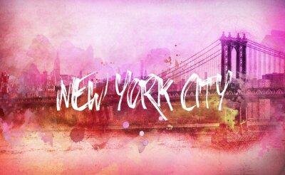 Poster Bunte künstlerische rosa New York City Panorama