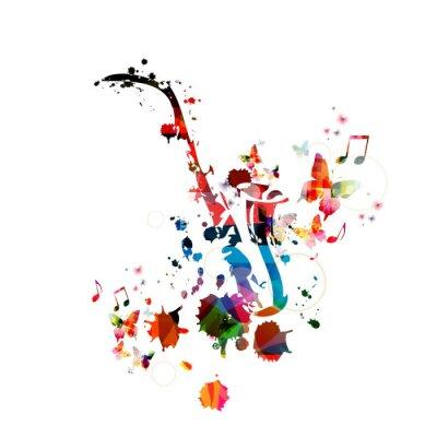 Poster Bunte Musik Hintergrund mit Saxophon