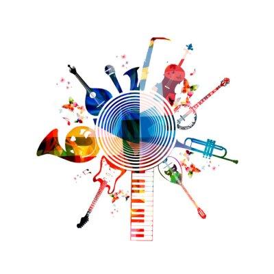 Poster Bunte Musikinstrumente Hintergrund