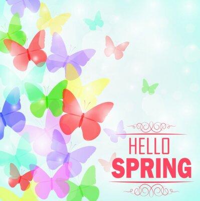 Poster Bunte Schmetterlinge Hintergrund mit Text Hello Spring