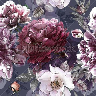Poster buntes nahtloses mit Blumenmuster der Kunstweinlesebleistift mit weißen Rosen und lila Pfingstrosen auf Hintergrund. Doppelbelichtung und Bokeh-Effekt