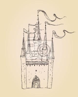 Burg Jahrgang Gravur-Stil, von Hand gezeichnet
