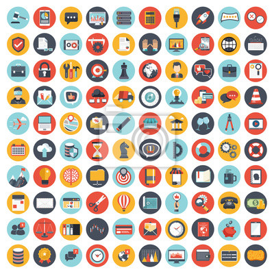 Poster Business and management icon set for websites and mobile applications. Flat vector illustration
