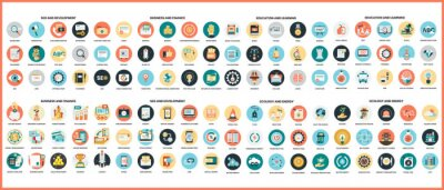 Poster Business icons set for business.