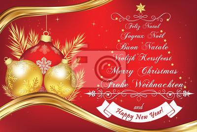 Frohe Weihnachten Englisch.Poster Business New Year Grußkarte In Vielen Sprachen Frohe Weihnachten