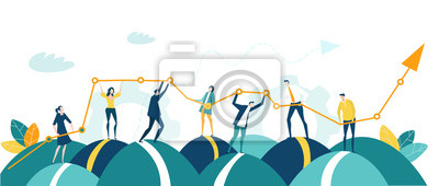 Poster Business people, creative team holding and caring growth arrow as symbol of success, support and development. Business concept illustration