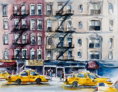 Poster Busy New York street. Watercolor sketch