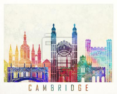 Cambridge Sehenswürdigkeiten Aquarell Poster