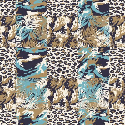 Camouflage with mimetic leaves and leopard skin patchwork  abstract vector seamless pattern