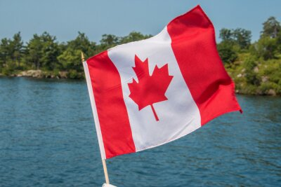 Poster Canadian Flag blowing in the wind Thousand Islands Canada Ontario