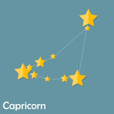 Poster Capricorn Zodiac Sign of the Beautiful Bright Stars Vector Illus