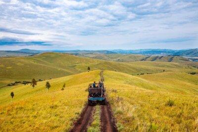 Poster Car ATV tour mountains of Russia Altay travel to national parks safari trip or savannah