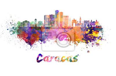 Caracas V2 Skyline im Aquarell