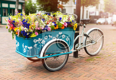 Poster Cargo bike with flowers, Holland, Europe