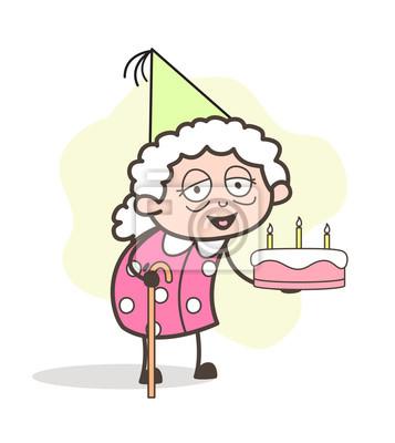 Poster Cartoon Alte Große Mutter Feiert Ihre Geburtstag Vektor Illustration