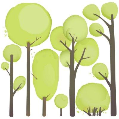 Poster Cartoon-Aquarell-Bäume Set