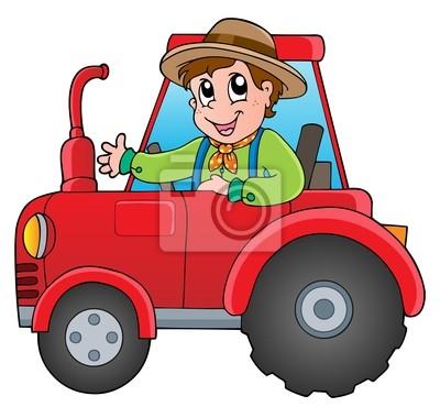 Cartoon Bauer Auf Traktor Wandposter Poster Landwirt Fahrer