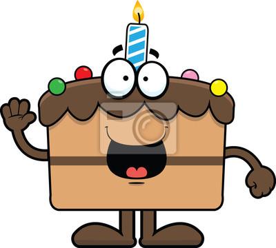 Poster Cartoon Birthday Cake Happy