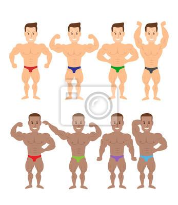 Poster Cartoon-Bodybuilder Muskelmänner in verschiedenen Posen auf weißem Hintergrund