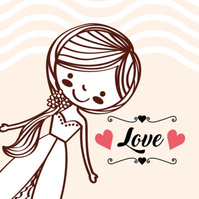 cartoon cute bride wedding love retro vector illustration