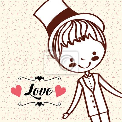 cartoon cute groom wedding love retro vector illustration