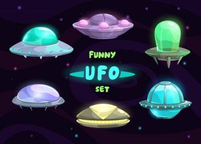 Poster Cartoon fantastischen ufo-Set