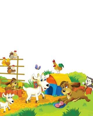 Poster Cartoon farm scene with animal goat having fun on white background - illustration for children