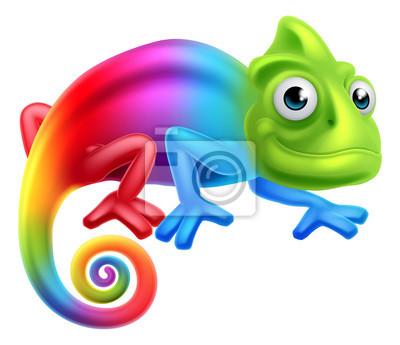 Poster Cartoon-Regenbogen-Chamäleon