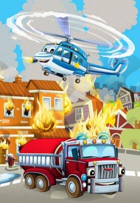 Poster cartoon scene with fireman car vehicle near burning building - illustration for children