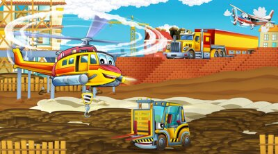 Poster cartoon scene with industry cars on construction site and flying helicopter - illustration for children