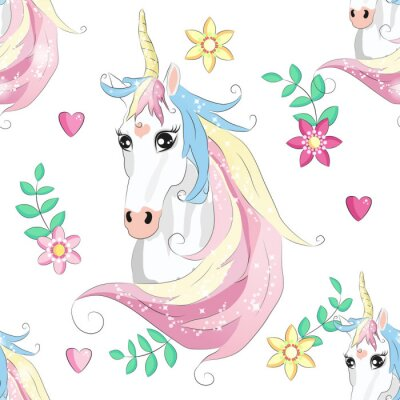 Poster Cartoon seamless pattern. Unicorn with rainbow and clouds. For designed print.