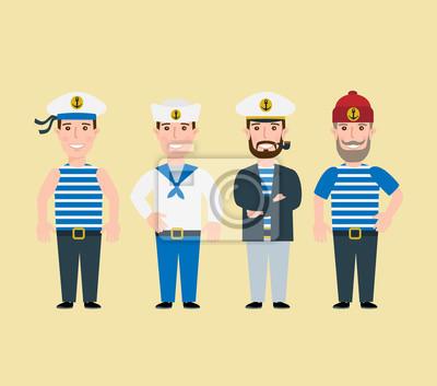 Poster Cartoon-Seemann-Zeichen gesetzt Kapitän