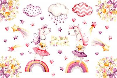 Poster Cartoon unicorn set. watercolor for decoration design. Funny pink animal princess collection. Princess rainbow poster. Nursery cute print. Decoration element. Magic fantasy design.