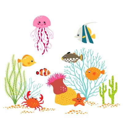 Poster Cartoon Unterwasser-Design auf weißem Hintergrund