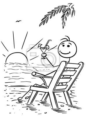 Strand comic schwarz weiß  Cartoon vektor stick man relaxing sitting auf dem strand stuhl ...