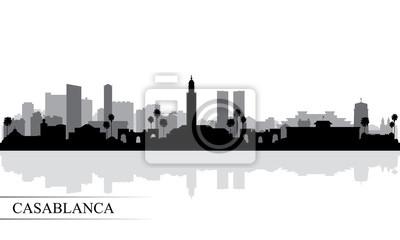 Casablanca city skyline silhouette background