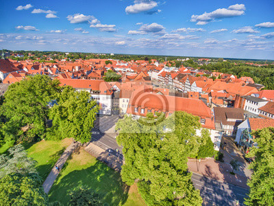 Celle aerial view from drone, Germany. Homes and city park