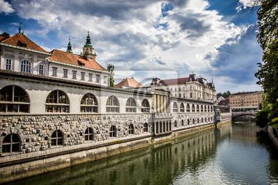 Central Market mit Blick auf den Kanal, Ljubljana, Slowenien