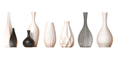 Poster Ceramic vase collection Vol. 1 isolated on white background, 3d rendering