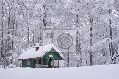 Chalet d'altitude sous la neige