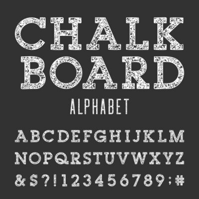 Poster Chalkboard Alphabet Vector Font