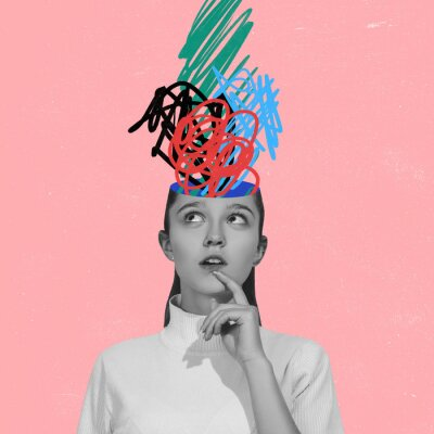 Poster Chaos in girl's head and hurricane of thoughts. Modern design, contemporary art collage. Inspiration, idea, trendy urban magazine style. Line art